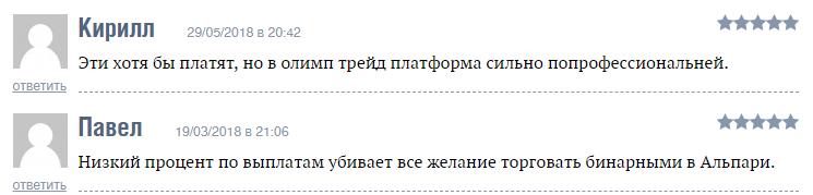 Відгуки про Альпарі в Росії