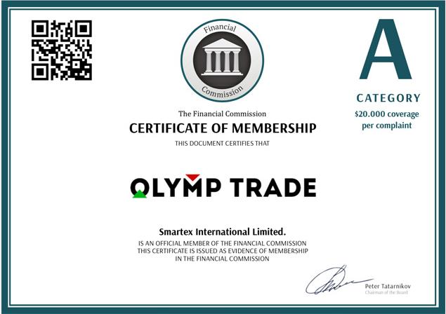 Лицензия Olymp Trade от регулятора FinaCom